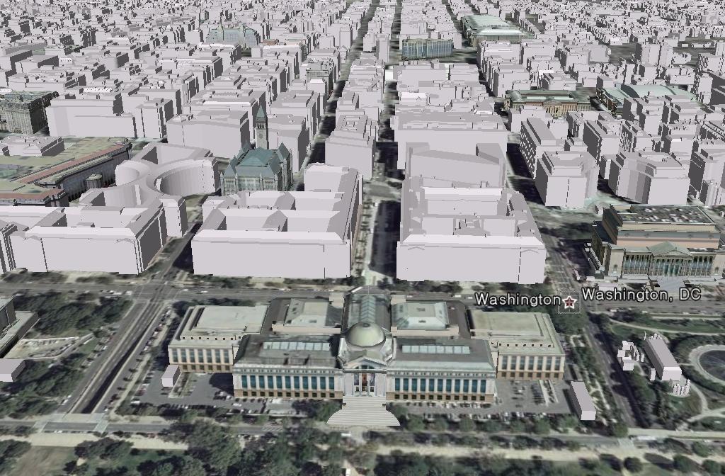 구글어스의 3D 도시 - 워싱턴 DC