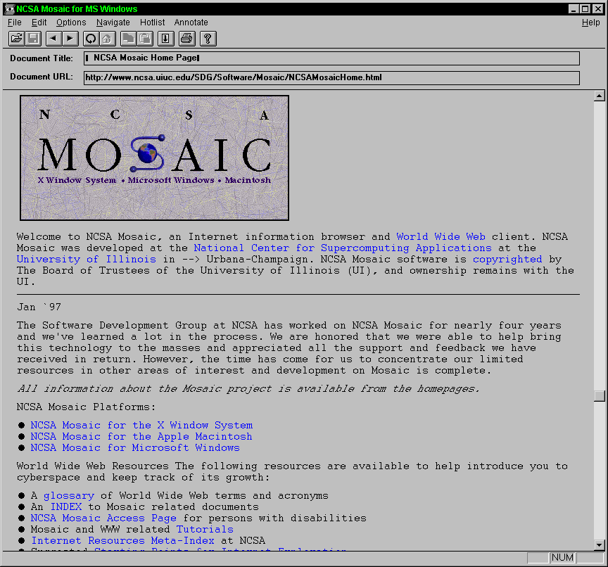 Mosaic - Graphical Web Browser