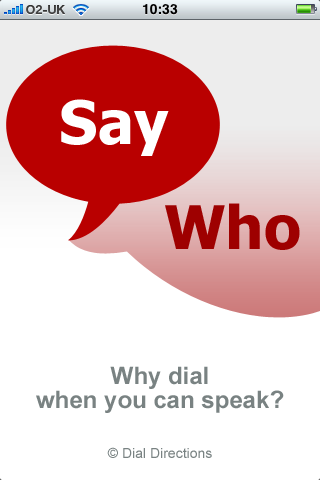 Say Who by Dial Directions, Splash Screen